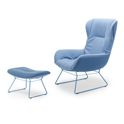 Leya | Wingback Chair with wire frame & Ottoman | Poltrone | FREIFRAU MANUFAKTUR