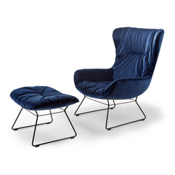 Leya | Wingback Chair with wire frame & Ottoman | Armchairs | FREIFRAU MANUFAKTUR