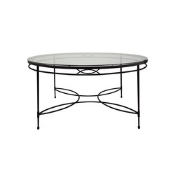 AMALFI GLASS TOP DINING TABLE ROUND 122 | Mesas para restaurantes | JANUS et Cie