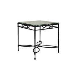 AMALFI WOVEN GLASS TOP SIDE TABLE SQUARE 56 | Mesas auxiliares | JANUS et Cie