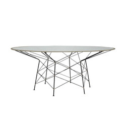 WHISK RATTAN GLASS TOP DINING TABLE ROUND 180 | Dining tables | JANUS et Cie