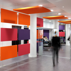 Stereo acoustic panels as partitions | Paneles de techo fonoabsorbentes | Texaa®