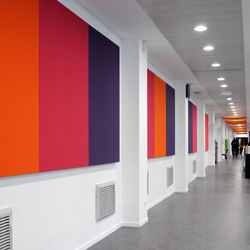 Stereo acoustic panels mounted to a support surface | Sound absorbing wall systems | Texaa®