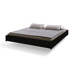 Flai bed lacquered graphite black with headboard | Beds | Müller Möbelwerkstätten