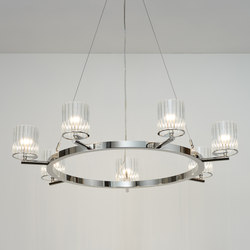 Flute Chandelier polished nickel | Chandeliers | Tom Kirk Lighting