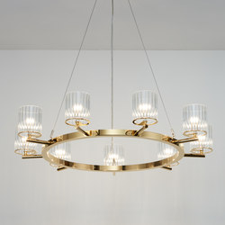 Flute Chandelier polished gold | Kronleuchter | Tom Kirk Lighting