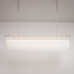 Linear Chandelier 1479mm polished nickel | Ceiling suspended chandeliers | Tom Kirk Lighting