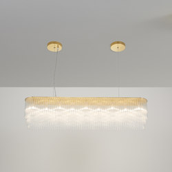 Linear Chandelier Thin 1010mm polished brass | Chandeliers | Tom Kirk Lighting