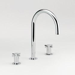 Nano | Rim mounted three-hole basin mixer - High spout | Grifería para lavabos | THG Paris