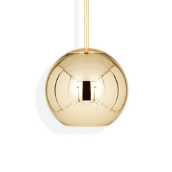 Copper Round Pendant 25cm Gold | Suspended lights | Tom Dixon