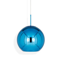 Copper Round Pendant 45cm Blue | Suspended lights | Tom Dixon
