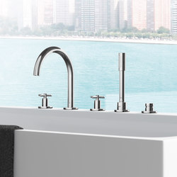 Atrio Tub filler with cross handles, handshower and diverter (5-hole) | Grifería para bañeras | GROHE