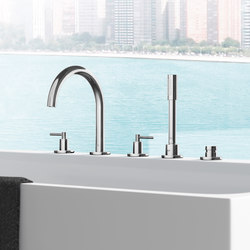 Atrio Tub filler with lever handles, handshower and diverter (5-hole) | Bath taps | GROHE