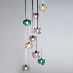 Glass Moons 9 Spring | Suspended lights | Licht im Raum