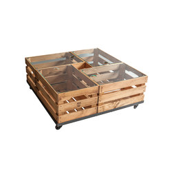 WOODEN CRATES GLASS TABLE ON WHEELS | Tables basses | Noodles Noodles & Noodles