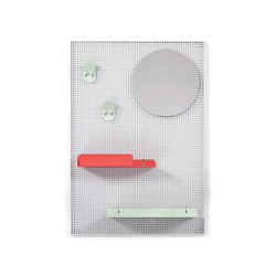 Wall system Alfred, light grey red and pastel green | Shelving | Hartô