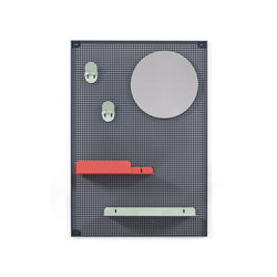 Wall system Alfred, dark grey red and pastel green | Shelving | Hartô