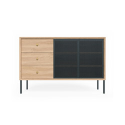 High sideboard Gabin, natural oak and slate grey | Credenze | Hartô