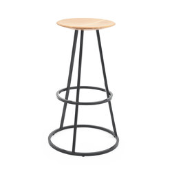 Bar stool Grand Gustave oak H77, slate grey | Bar stools | Hartô