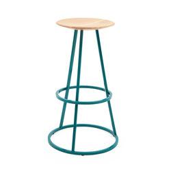Bar stool Grand Gustave oak H77, water blue | Bar stools | Hartô