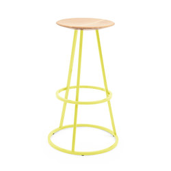 Bar stool Grand Gustave oak H77, lemon yellow | Bar stools | Hartô