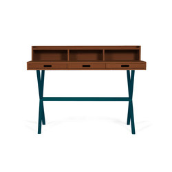Secretary desk Hyppolite in walnut, petrol blue | Scrivanie | Hartô