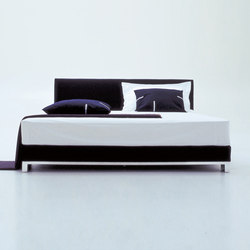 Anna | Bed 160 X 200 'bridge' Feet In Mirror Polished Aluminium | Beds | Ligne Roset
