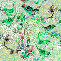 Walls By Patel | Wallpaper Mosaic Birds 1 | Wall coverings / wallpapers | Architects Paper