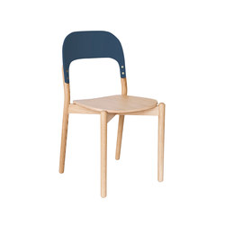 Chair Paula, natural oak and grey blue backrest | Stühle | Hartô