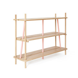 Bookcase Simone 120cm, natural oak and pink | Shelving | Hartô