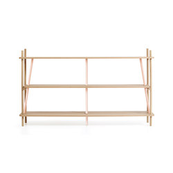 Bookcase Simone 160cm, natural oak and pink | Estantería | Hartô