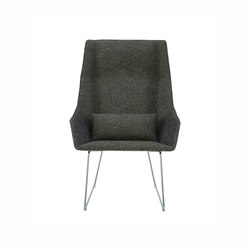 Elsa | High Armchair Chromed Sleigh Feet | Armchairs | Ligne Roset