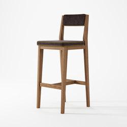 New Bistro BARSTOOL with dark brown leather mustard border | Bar stools | Karpenter