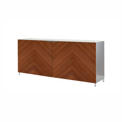 Everywhere | Sideboard Coplanar Doors/Fern-Effect Walnut  / Lacquers - Price B - / Ceramic Stoneware | Sideboards | Ligne Roset