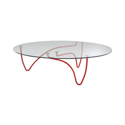 Rythme | Oval Occasional Table Clear Glass Top Red Lacquered Base | Coffee tables | Ligne Roset