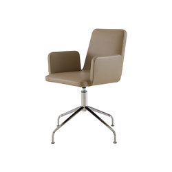 Vik | Carver Chair - Without Handle Central Pedestal - Brilliant Chrome | Chairs | Ligne Roset