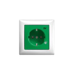 SCHUKO® Steckdose mit Aufdruck SV/ZSV in grün oder orange | Schuko-Stecker | Busch-Jaeger