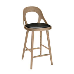 Colibri barchair 63cm oak grey, bonded leather black emb | Bar stools | Hans K