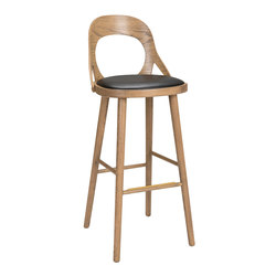 Colibri barchair 74cm oak grey, bonded leather black emb | Bar stools | Hans K