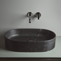 Giro Top Mounted Black Marquina Marble H12 Washbasins | Wash basins | Inbani