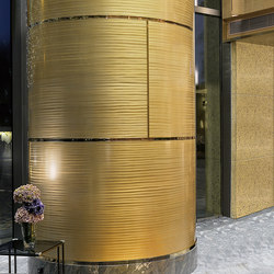 Decorative Round Metal Column Cover in Classic Collection  Goldrush with Bamboo Grain | Plaques de métal | Moz Designs