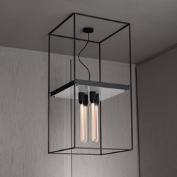 Caged Ceiling 4.0 | Polished White Marble | Buster Bulb Tube | Ceiling lights | Buster + Punch
