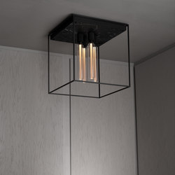 Caged Ceiling 4.0 | Satin Black Marble | Buster Bulb Tube | Ceiling lights | Buster + Punch