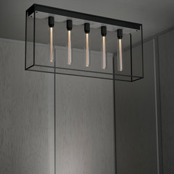 Caged Ceiling 5.0 | Polished White Marble | Buster Bulb Tube | Plafonniers | Buster + Punch