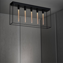 Caged Ceiling 5.0 | Satin Black Marble | Buster Bulb Tube | Lampade plafoniere | Buster + Punch