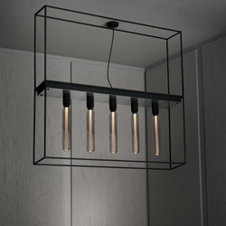 Caged Ceiling 5.0 | Brushed Steel | Buster Bulb Tube | Ceiling lights | Buster + Punch