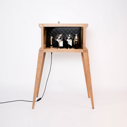 Popstar | Oak | Black Leather | Steel | White Marble | Drinks cabinets | Buster + Punch