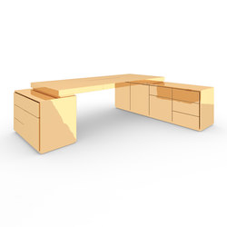 DESK IV-II-I special edition - Gold | Contract tables | Rechteck
