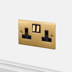 Electricity | 2G UK Socket | Brass | British Standard | Buster + Punch