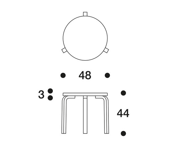 Aalto table round 90D by Artek | Cafeteria tables